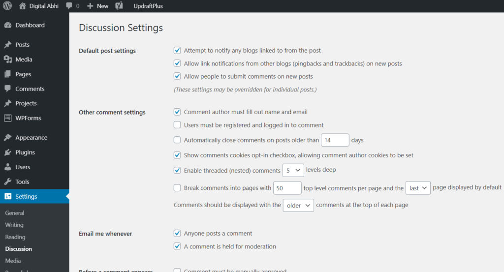 discussion wordpress settings overview